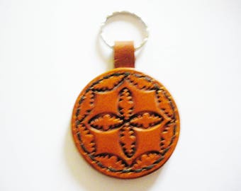 Brown Celtic leather key ring
