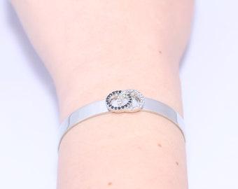 Silver bracelet, Bridal bracelet, Cuff bracelet, Crystal Wedding bracelet, İnfinity bracelet, CZ bracelet, Bridesmaid bracelet,