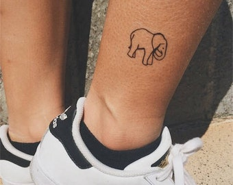 Hand-Drawn Elephant Temporary Tattoo