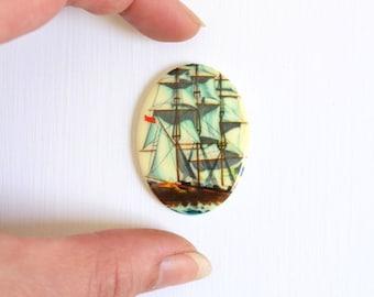 Vintage Cabochon, Plastic Cabochon, Pirate Ship Cabochon, Pirate Ship Pirate Ship Jewelry Vintage Jewelry Supplies Vintage Brooch DIY Brooch