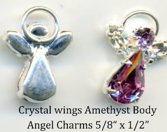 Angel Swarovski Crystal - Amethyst with clear wings - Quanity 2