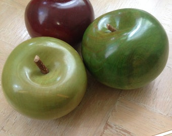 Hand carved wood apples