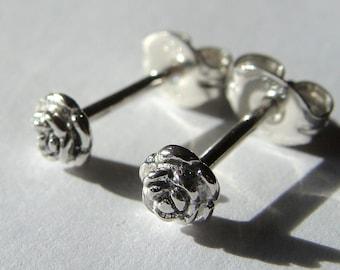 Tiny Rose Studs Rose Earrings Flower Studs Sterling Silver Post Earrings Stud Earrings