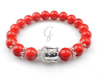 Red jade brass buddha bracelet