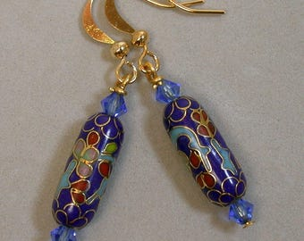 Vintage Chinese Cloisonne Cobalt Blue Dangle Drop Bead Earrings, Vintage Swarovski Blue Crystal - GIFT WRAPPED