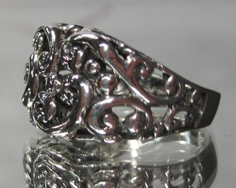Vintage Sterling Silver Paisley Filigree Ring Sz 5 M80