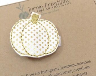 Gold Pumpkin Hair Clip Polka Dot Gold Hair Clip Halloween Thanksgiving Fall Autumn Hairclip Glitter Pumpkin