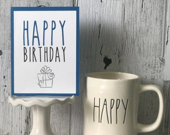 Rae Dunn Inspired HAPPY Birthday Card