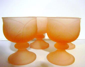 Vintage Frosted Pink Glass Dessert cups