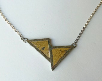 Sterling silver handmade triangle necklace with 24ct gold leaf. Hallmarked in Edinburgh