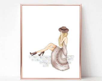 Scenic route | fashion illustration print, art print, sketch, croquis, dress, girl scenic,