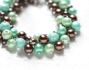 Mint Green and Brown Bridesmaid Jewelry, Pearl Cluster Bracelet - Woodlands, For Weddings and Bridesmaids