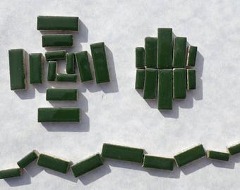 """Deep Green Mini Rectangles Mosaic Tiles - 50g Ceramic in Mix of 3 Sizes 1/2"""" and 3/4"""" in Pesto"""