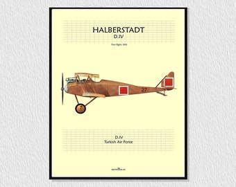 Laminate, downloadable poster for decoration, instant descargar, wall decor, airplane poster, digital draw avion HALBERSTADT D IV