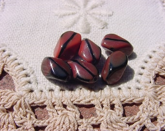 Cinnamon Ebony Nuggets Vintage Glass Beads