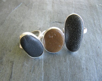 Beach Pebble and Sterling Silver Rings