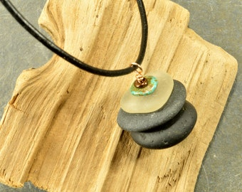 Stone and sea-- a one of a kind  Maine authentic sea glass and stone cairn necklace  on a leather adjustable cord