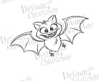 Halloween Bat Digital Stamp/ KopyKake Image- F6-HALLOBAT