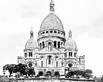 Instant Download Sacre Coeur, Paris Watercolor Painting, Black and White Printable Photo Art