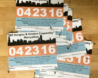 Runner Race Bib - Wedding Invitation City Skyline