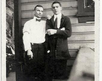 Old Photo Men Smoking Cigarette Cigar 1920s Photograph snapshot vintage