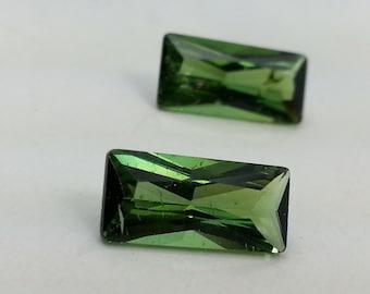 Natural Loose Green Tourmaline, Cut Gemstone Loose Tourmaline, Emerald Cut Faceted Tourmaline Gemstone Natural Pair Emerald Cut 3.40 Cts