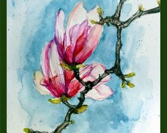 "Original Water color Painting,Pink Magnolias, 10""x8"", 1608148"