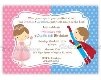 Princess And Superhero Birthday Invitation (Digital File)