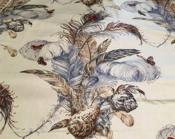 Unusual Butterflies and Feather Print fabric from the 1970s