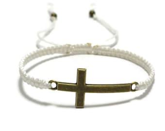 Bronze Cross Bracelet, Sideways Cross Bracelet, Macrame Cross Bracelet, Christian Bracelet, Catholic Bracelet, Christian Catholic Gift