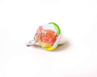 Miniature Pastel Rainbow Snow Cone Charm- miniature food jewelry - kawaii Cute food charm - Polymer clay food charm- Snow Cone pendant