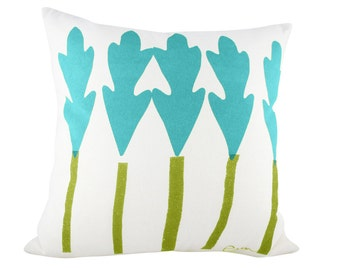 Leaf Trees 20in Pillow in Teal + Vintage Green