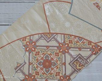 Kimono en soie japonais Vintage Obi tissu broderie Fan du Japon