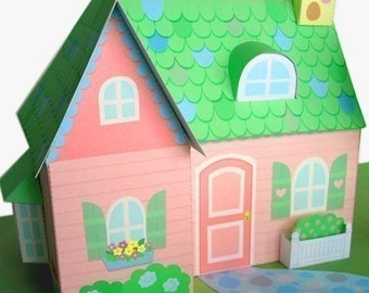 Pink Cottage Dollhouse Printable Paper Craft PDF