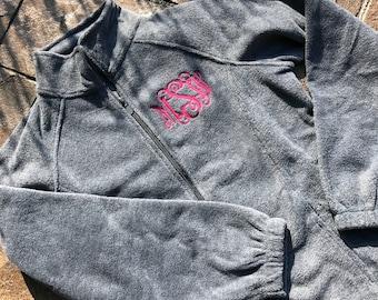 Fleece Jacket – Full Zip Fleece- Monogram Jacket – Personalized – Monogrammed Jacket - Gray - Monogram fleece
