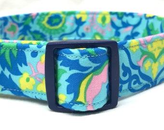Jennifer Paganelli Dog Collar Boy Girl Blue Pink Sunny Isle Fabric