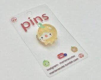 plexiglass pin- Orange kawaii character