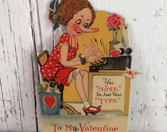 vintage valentine mechanical typist secretary A punch on the nose heart moves used valentine to repurpose
