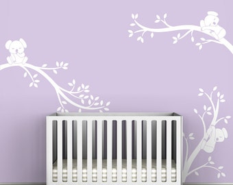 White Koala Tree Branches Wall Decal by LittleLion Studio