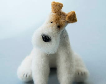Wire Fox Terrier, needle felted dog, collectible, example
