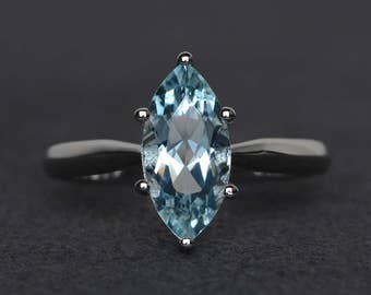 natural aquamarine engagement ring marquise cut solitaire ring sterling silver ring blue gemstone ring March birthstone