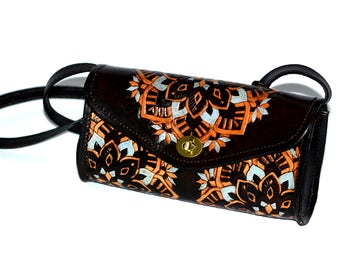 Hand-Tooled Custom Leather Handbag with Mandala Design.