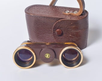Vintage Small Theater or Opera Glasses, Binoculars in original leather holder, USSR