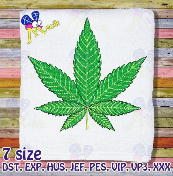 Marihuana Cannabis Blatt Stickmuster Maschine Stickmuster