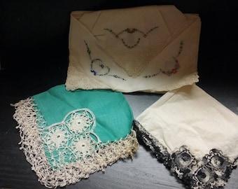 Antique ornate lace handkerchiefs