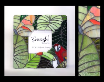 """Jungle Theme - 3.5"""" x3.5"""" Stained Glass Mosaic Picture Frame"""