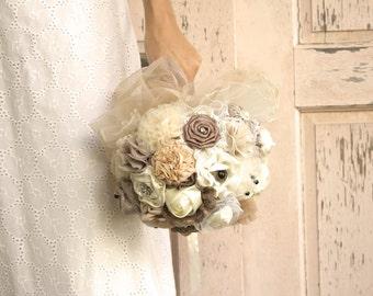 tans wedding bouquet  DEPOSIT champagne bridal bouquet cream bouquet