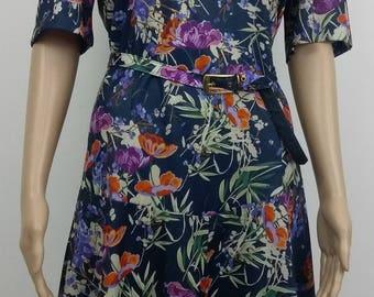 Vintage Floral day dress. 80's. Blue. Size 16. with Belt