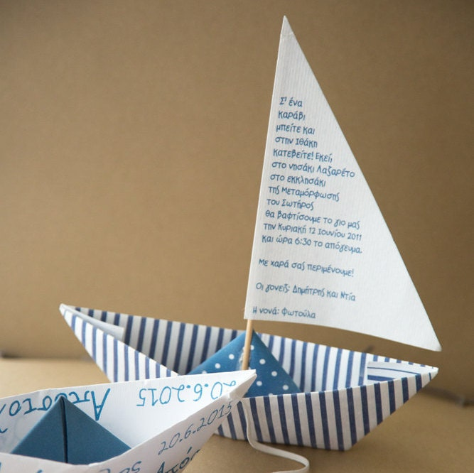 Birthday Party Yacht: Navy Blue Paper Boat Party Invitations Birthday / Baptism