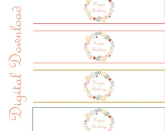 Floral Drink Wrap Labels, Printable Wrap Labels, Water Bottle Wrap Labels, Birthday Labels, Product Wrap Labels